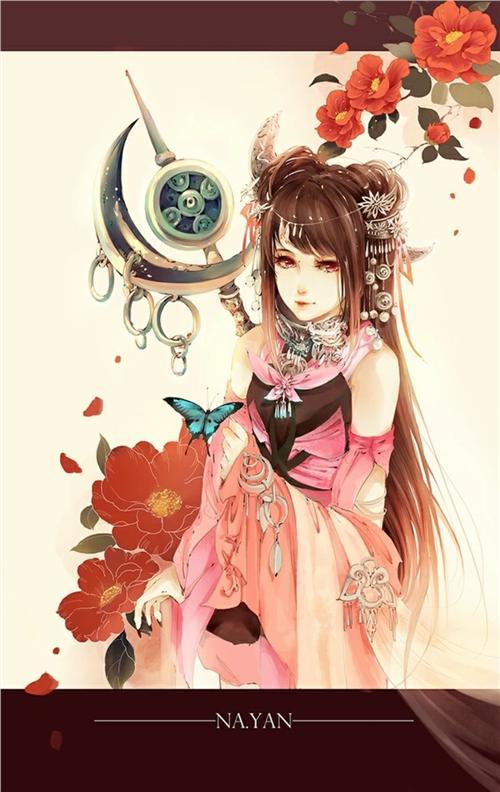 【手绘古装】妖娆妩媚红衣女子._看图_手.