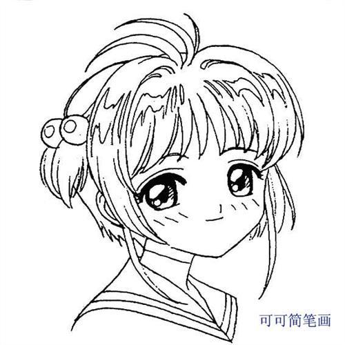 动漫女生侧脸简笔画